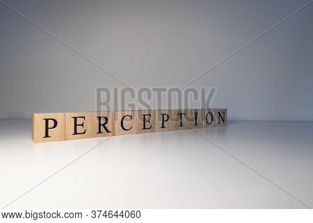Perception Text From Wooden Cubes. Photo Was Taken In A White Background.
