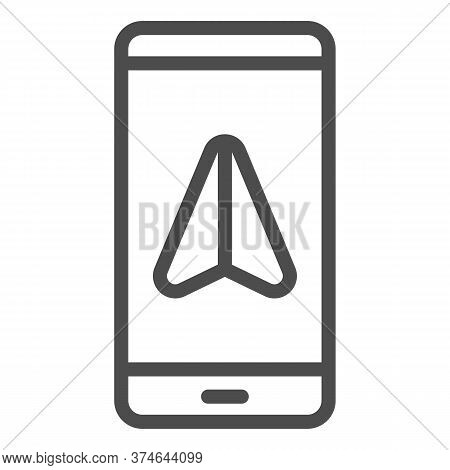 Smartphone With Navigator Line Icon, Navigation Concept, Gps Navigation Sign On White Background, Mo