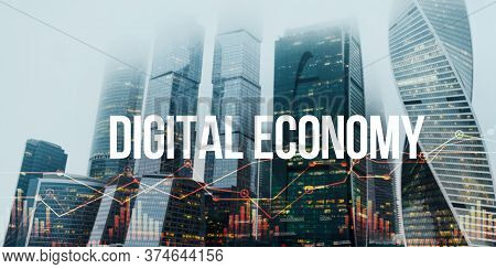 Creative Collage With Metropolis City, Financial Charts And Phrase Digital Economy, Panorama