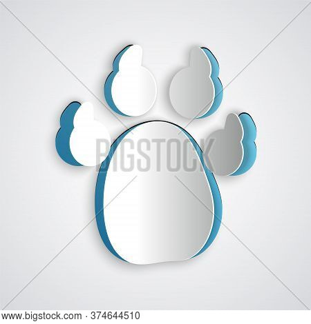 Paper Cut Paw Print Icon Isolated On Grey Background. Dog Or Cat Paw Print. Animal Track. Paper Art