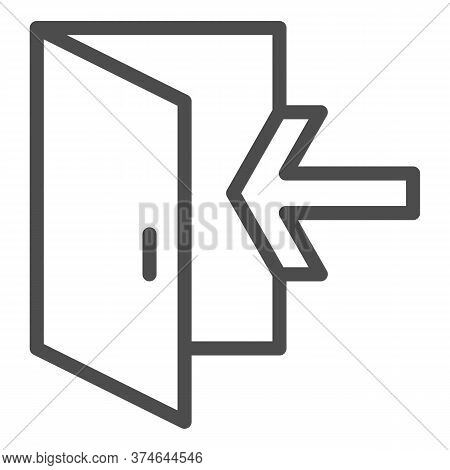 Emergency Exit Line Icon, Navigation Concept Exit Sign On White Background, Exit Door Icon In Outlin