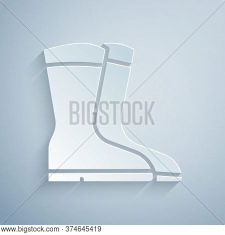 Paper Cut Fishing Boots Icon Isolated On Grey Background. Waterproof Rubber Boot. Gumboots For Rainy