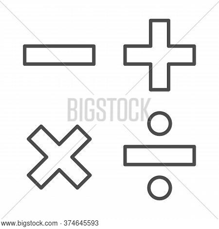 Add, Subtract, Divide, Multiply Symbols Thin Line, Education Concept, Math Calculate Sign On White B