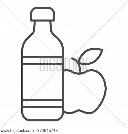 Apple And Mineral Water Thin Line Icon, Healthy Lifestyle Concept, Bottle Of Water And Fruit Sign On