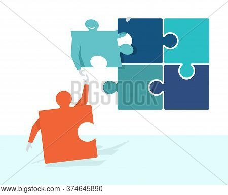 Join Our Team Or Join Our Club Concept - Puzzles In Human Form With Hands  - Motivation Of Formation