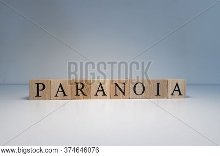 Text Of Paranoia From Wooden Cubes. Psychological Terms And Health Problems.