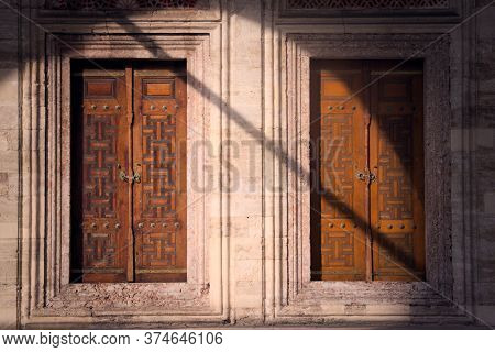 Two Wooden Doors At The Sehzade Mosque In Istanbul, Turkey. Islamic Art, Woodwork With Intricate Geo