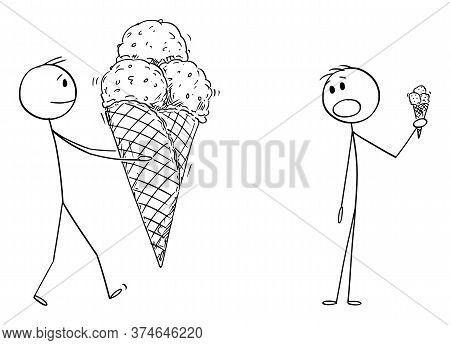 Vector Cartoon Stick Figure Drawing Conceptual Illustration Of Man Holding Big Ice Cream In Waffle C