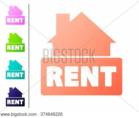 Coral Hanging Sign With Text Rent Icon Isolated On White Background. Signboard With Text For Rent. S