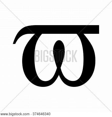 Pi Variant Greek Letter Icon On White Background