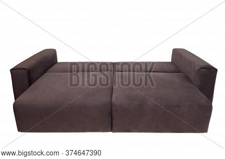 Modern Brown Fabric Sofa Isolated On White Background. Unfolded Soft Couch, Front View. Strict Style