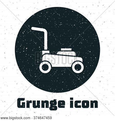 Grunge Lawn Mower Icon Isolated On White Background. Lawn Mower Cutting Grass. Monochrome Vintage Dr
