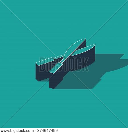 Isometric Gardening Handmade Scissors For Trimming Icon Isolated On Green Background. Pruning Shears