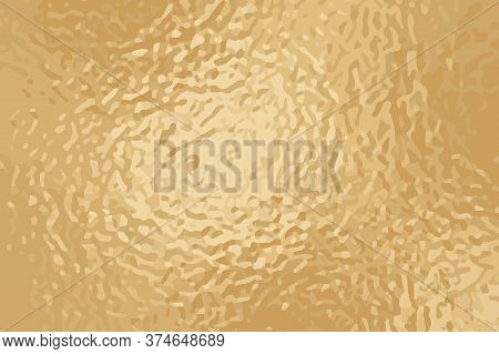 Faded Golden Foil Vector Texture. Aged Yellow Rose Gold Surface For Greeting Card And Luxury Backgro