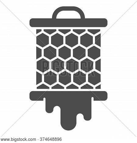 Grid With Honeycombs From Beehive Solid Icon, Beekeeping Concept, Bee Honey In Honeycomb Sign On Whi