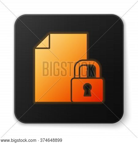 Orange Glowing Neon Document And Lock Icon Isolated On White Background. File Format And Padlock. Se
