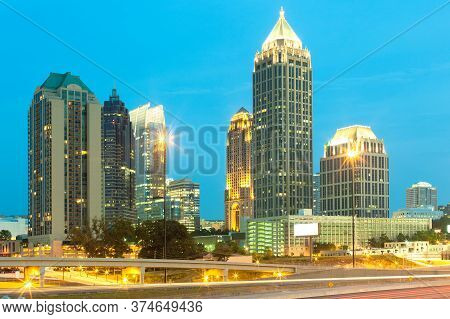 Skyline Of Midtown Atlanta At Dusk, Georgia, United States