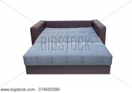 Modern Brown And Blue, Fabric And Leather Sofa Isolated On White Background. Unfolded Soft Couch, Fr