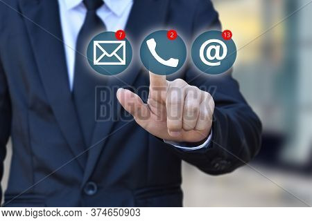 Businessman Choosing Virtual Contact Icon. Contact Us (customer Support Hotline People Connect )