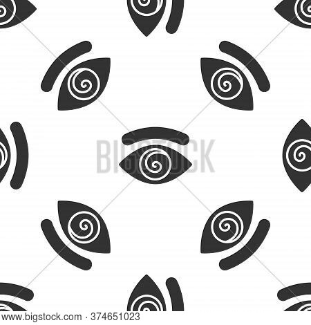 Grey Hypnosis Icon Isolated Seamless Pattern On White Background. Human Eye With Spiral Hypnotic Iri