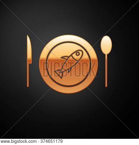 Gold Served Fish On A Plate Icon Isolated On Black Background. Vector.