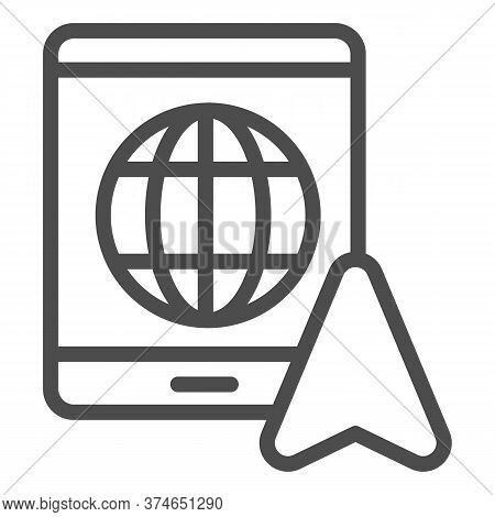 Tablet With Globe And Navigation Pointer Line Icon, Navigation Concept, Gps Navigator Sign On White