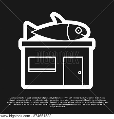 Black Seafood Store Icon Isolated On Black Background. Facade Of Seafood Market. Vector.