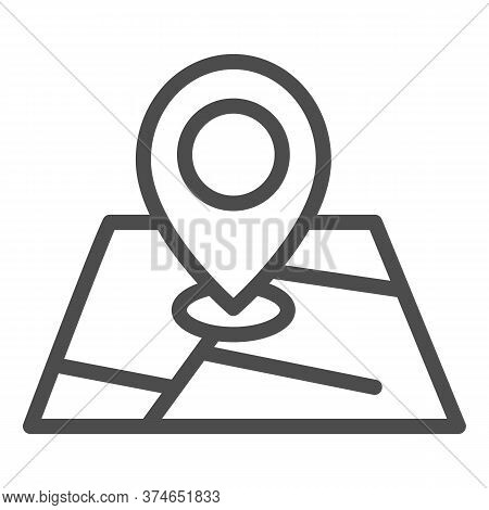 Map And Location Marker Line Icon, Cartography Concept, Geolocation Sign On Map Sign On White Backgr