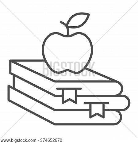 Books And Apple Thin Line Icon, Education Concept, School Book And Apple Sign On White Background, S