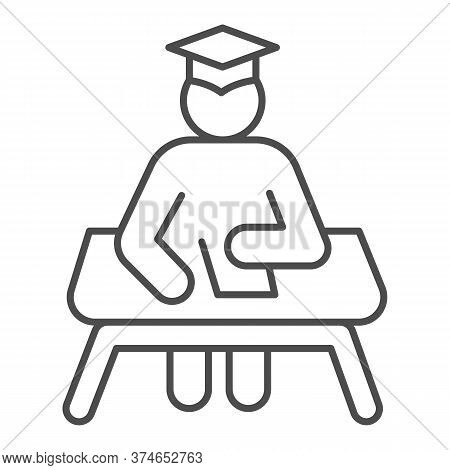 Student At Desk Thin Line Icon, Education Concept, Man In Graduation Hat At Desk Sign On White Backg