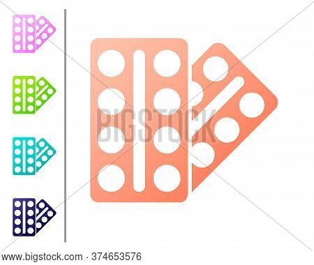 Coral Pills In Blister Pack Icon Isolated On White Background. Medical Drug Package For Tablet, Vita