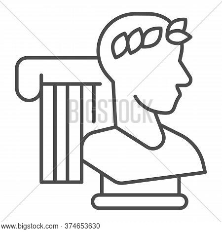 Greek Statue And Column Thin Line Icon, Back To School Concept, Monument And Column Sign On White Ba