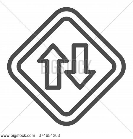 Two Way Traffic Line Icon, Navigation Concept, Traffic Sign On White Background, Two Way Road Icon I