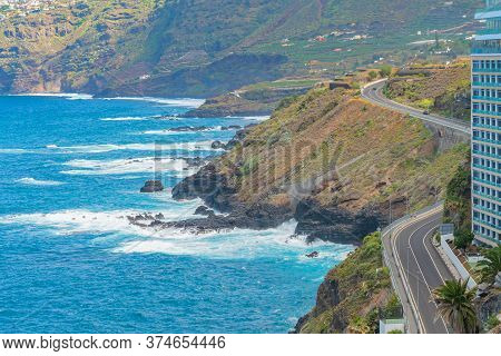 View On The Road On The Cliff And Rocky Shore Of Puerto De La Cruz, Tenerife, Canary Islands, Spain