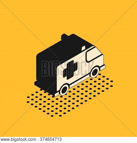 Isometric Ambulance And Emergency Car Icon Isolated On Yellow Background. Ambulance Vehicle Medical