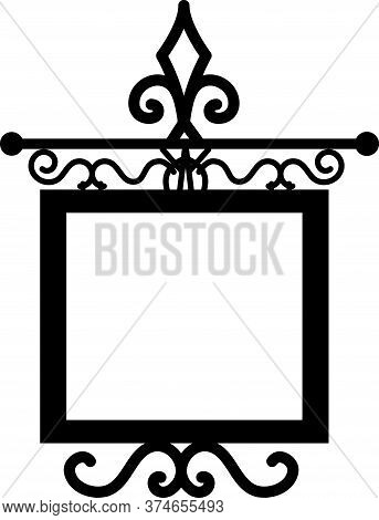Tavern Sign, Metal Frame With Curly Elements.