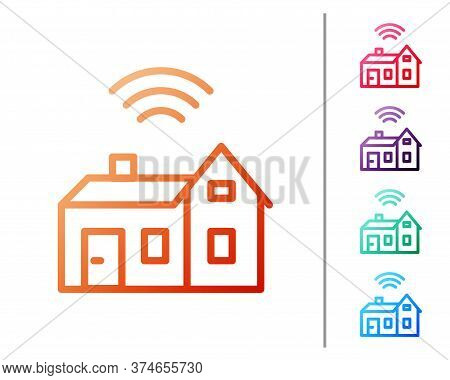 Red Line Smart Home With Wireless Icon Isolated On White Background. Remote Control. Internet Of Thi