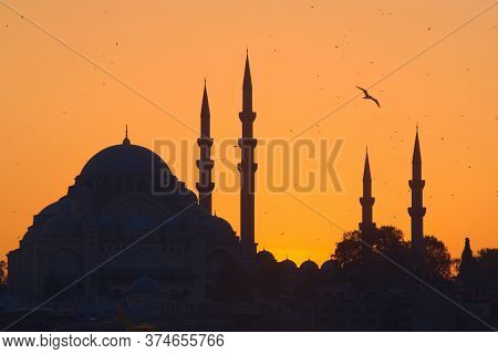 Hagia Sophia, The Most Important Tourist Attraction Of Istanbul, Turkey, Silhouetted Against The Och