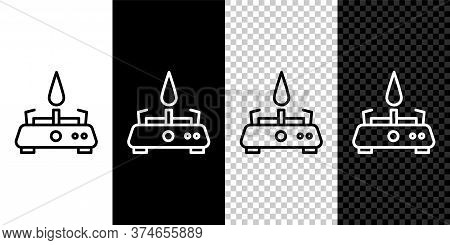 Set Line Camping Gas Stove Icon Isolated On Black And White Background. Portable Gas Burner. Hiking,