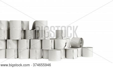 Toilet Paper Rolls Wall 3d Render On A White No Shadow