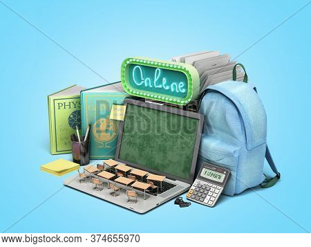 Online Education Concept Blue Backpack With School Supplies And Laptop 3d Render On Blue Gradient