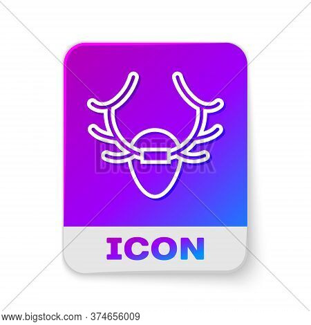 White Line Deer Antlers On Shield Icon Isolated On White Background. Hunting Trophy On Wall. Rectang