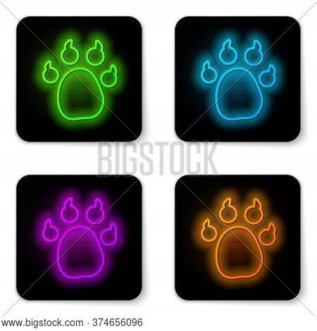 Glowing Neon Line Paw Print Icon Isolated On White Background. Dog Or Cat Paw Print. Animal Track. B
