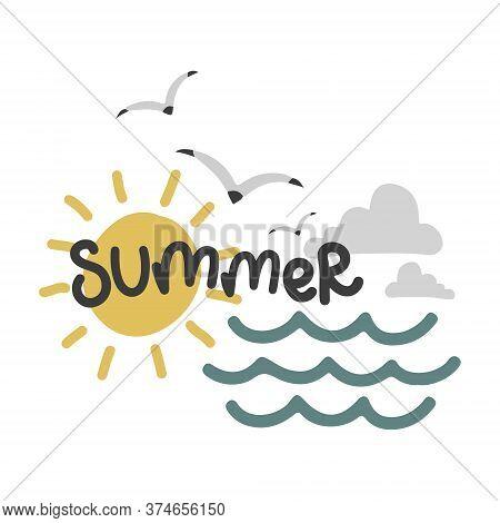 Summer Set, Sun And Seagulls, Vector Design Template, Lettering Illustration