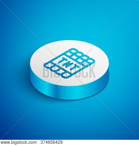Isometric Line Detonate Dynamite Bomb Stick And Timer Clock Icon Isolated On Blue Background. Time B
