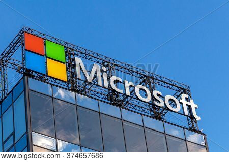 St. Petersburg, Russia - July 02,  2020: Microsoft Logo And Emblem On The Roof Of A High-rise Office