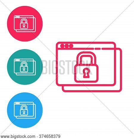 Red Line Secure Your Site With Https, Ssl Icon Isolated On White Background. Internet Communication
