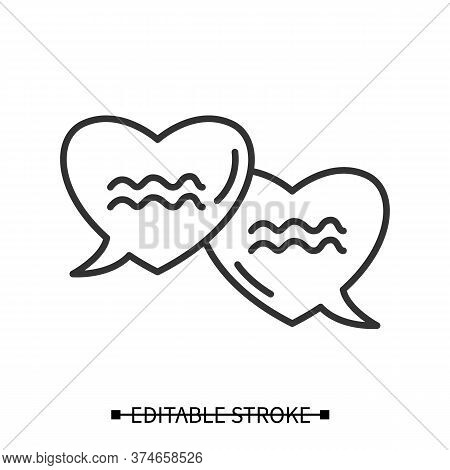 Love Talk Icon. Heart Shape Linear Speech Bubble Pictogram. Love Confession And Valentines Day Conce