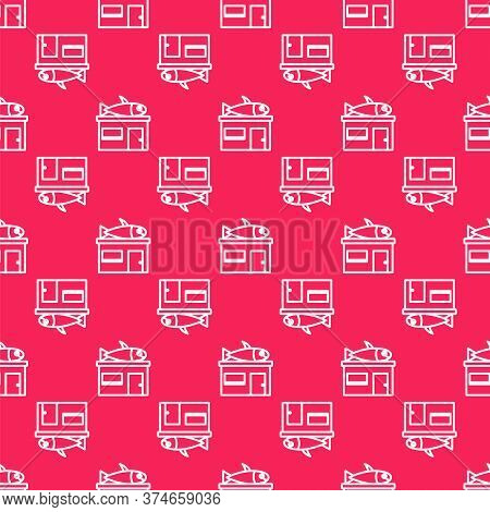 White Line Seafood Store Icon Isolated Seamless Pattern On Red Background. Facade Of Seafood Market.