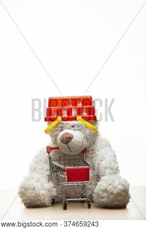 Image Of Toy Bear Basket Trolley White Background